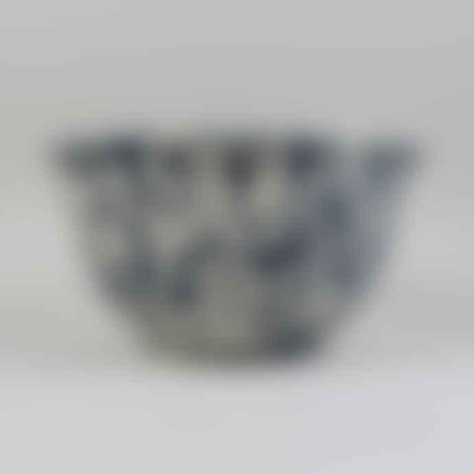 Crow Canyon Home Enamel Splatterware Large Salad Bowl -  Dark Blue & Cream