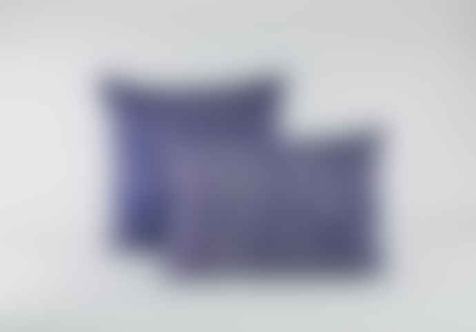 Indigo & Wills 50 X 35 Pomegranate Design Discharge Print Linen Cushion