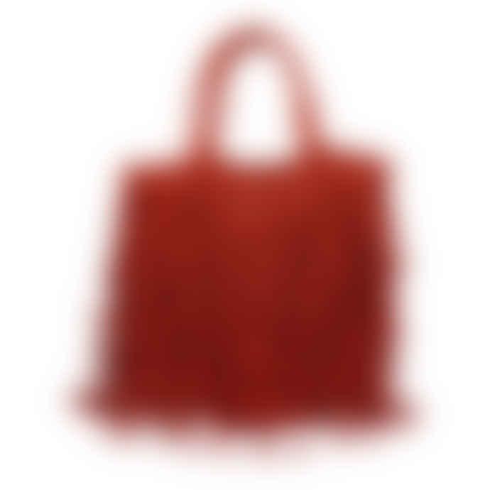 Maison Bengal Red Jute Macramé Fringe Bag