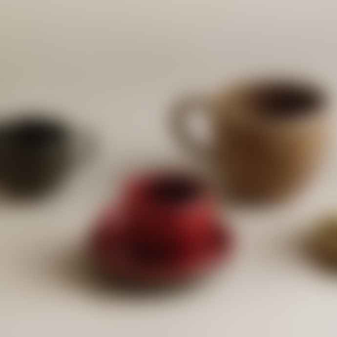 Kinto Grotto Handmade Porcelain Espresso Cup and Saucer in Brown