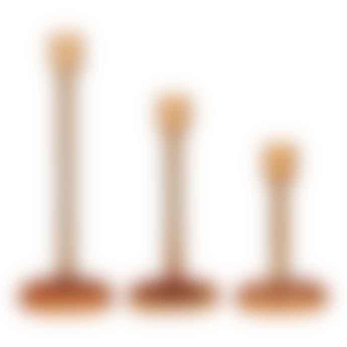 Hubsch Large Amber Glass Candlestick