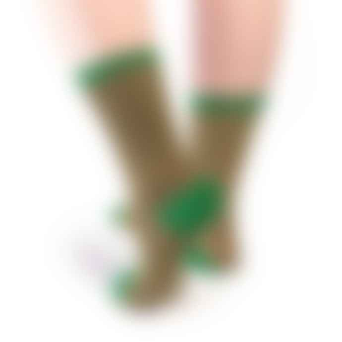 Tracey Neuls Izzy Green Sparkle Gold Logo Socks