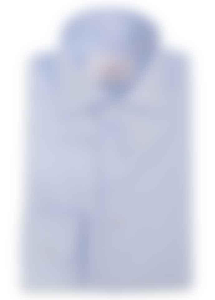 Diverso Sky Fine Oxford Border Trim Shirt