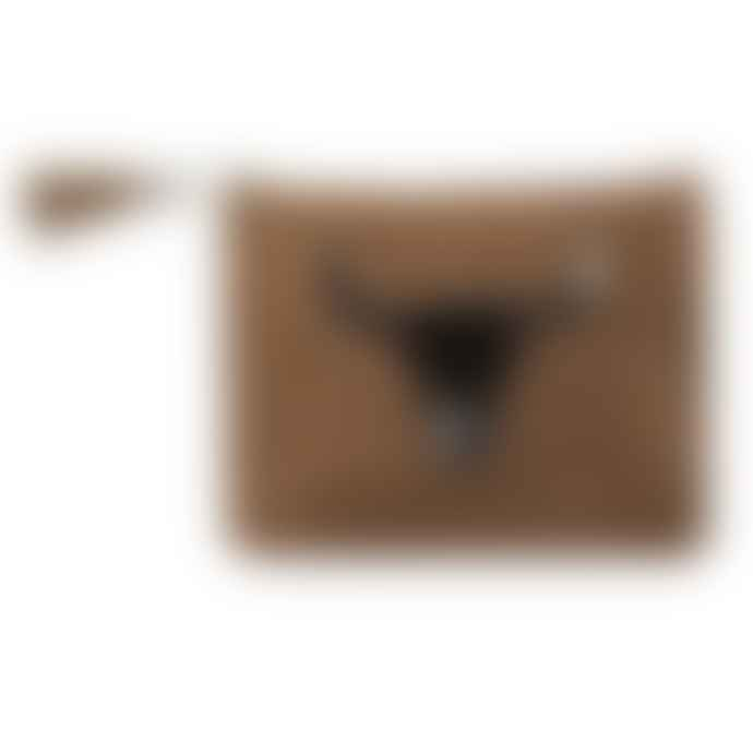 Mars & More Black Bull Head Hide Clutch Bag
