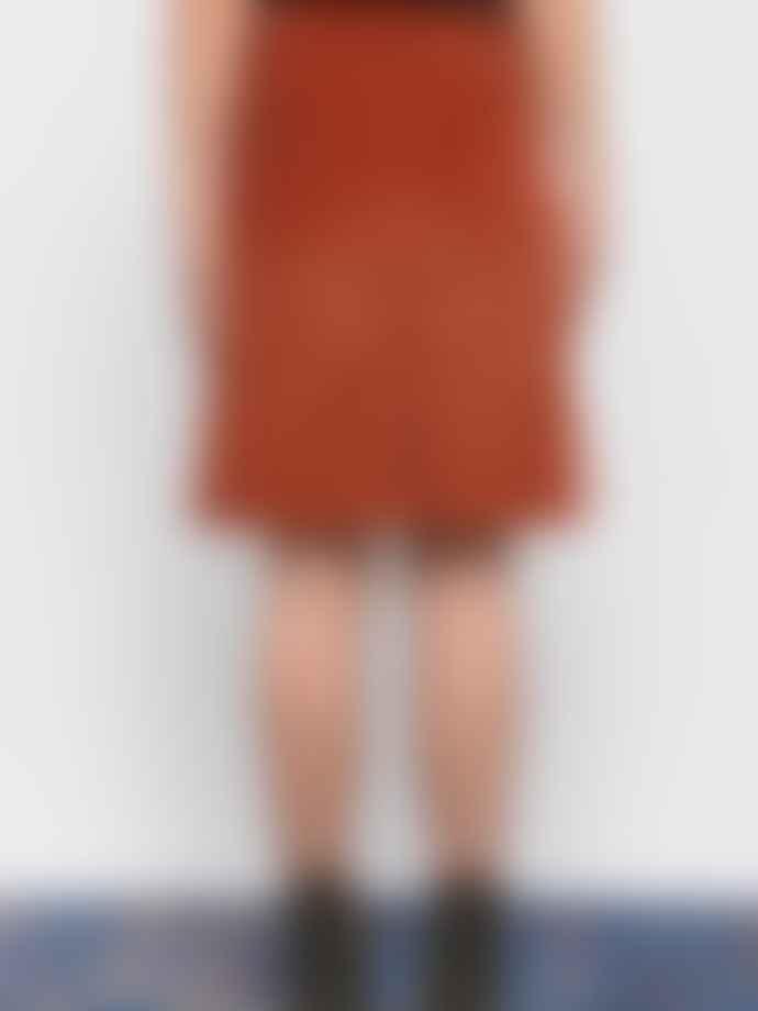 Leon & Harper Rust Jubile Velvet Cord Skirt