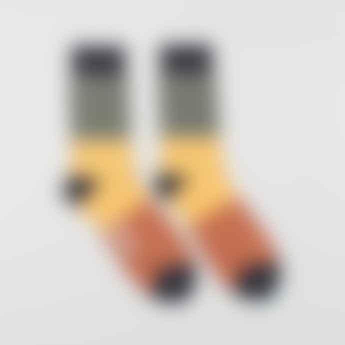Far Afield Green Navy Yellow Colour Block Socks