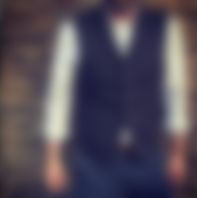 Archie Foal Mens Brandt Navy Wool Denim Lined Waistcoat