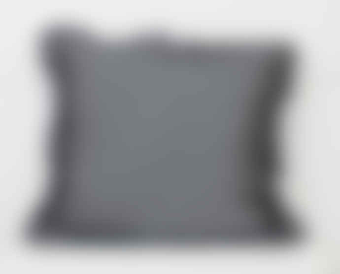 The Grey Works French Linen Cushion With A Frill In Charcoal Grey