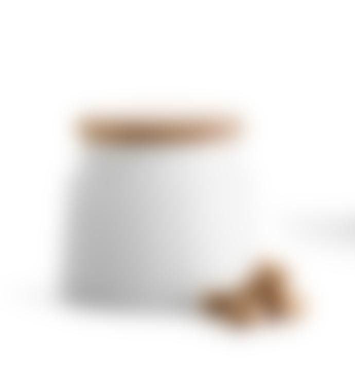 Sagaform White Stoneware and Oak Storage Jar