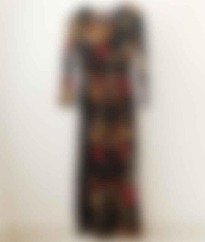 Compania Fantastica Floral Flower Print Black Long Jumpsuit