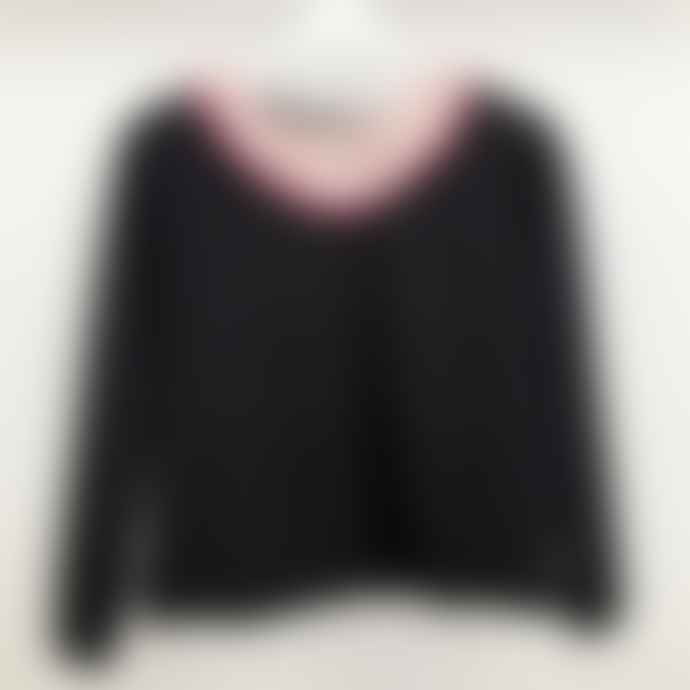 Fabrique Black Pizza is my Boyfriend with Pink Pom Pom Sweater Sweatshirt Jumper