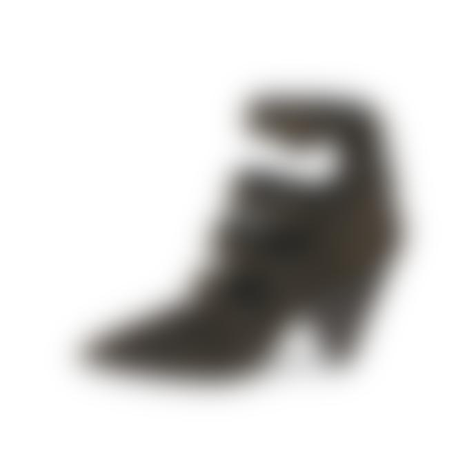 Ash Dolby Buckle Cone Heel Suede Shoes