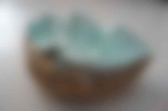 Inle Home Aqua & Gold Sea Shell Bowl