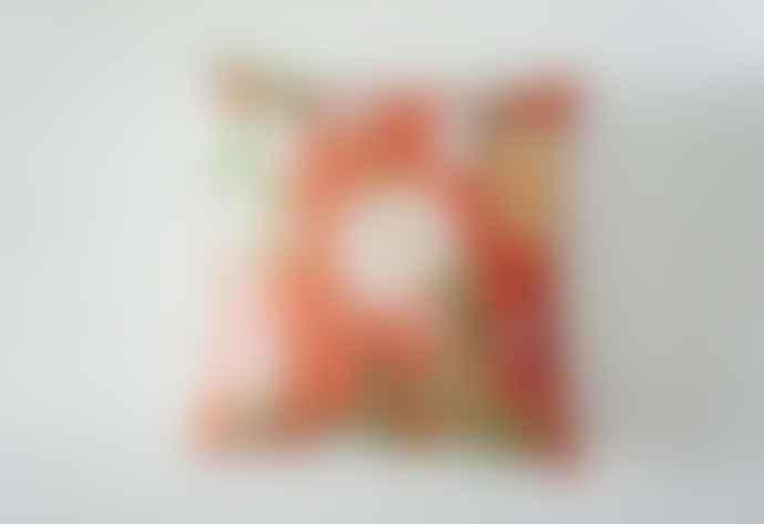 Royal Horticultural Society Orange Floral Cushion
