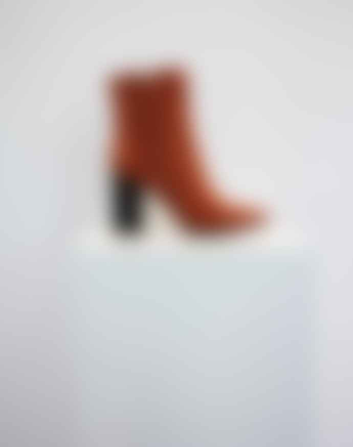 Collection & Co Pelion Orange Block Heeled Boot