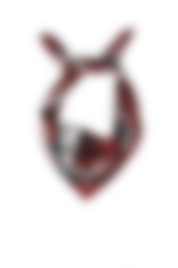 Emilia Mala 100% Silk Black Bird Crow Skull Deep Red Square Scarf