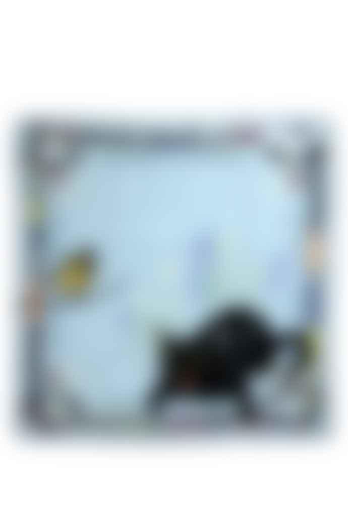 Emilia Mala 100% Silk Black Cat Blue Dawn Square Scarf