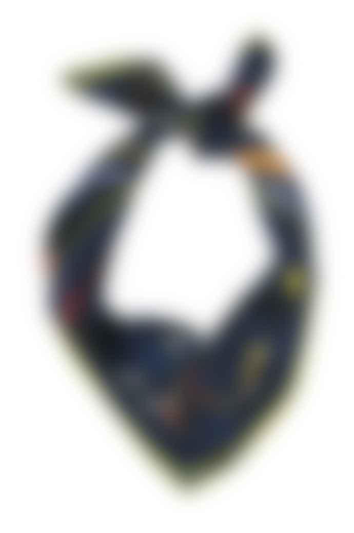 Emilia Mala 100% Silk Black Cat Navy Blue Midnight Square Scarf