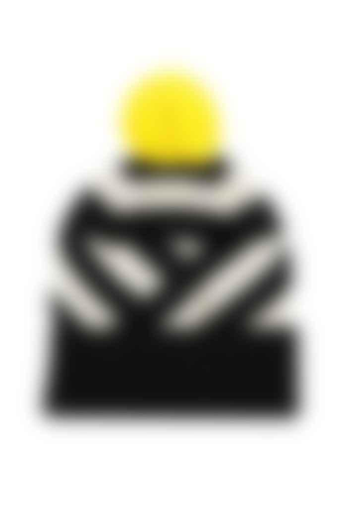Miss Pompom Black Stripe Beanie Hat