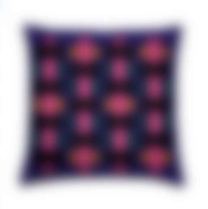 Ellamae Statham Navy Structured Tiles Print Cushion