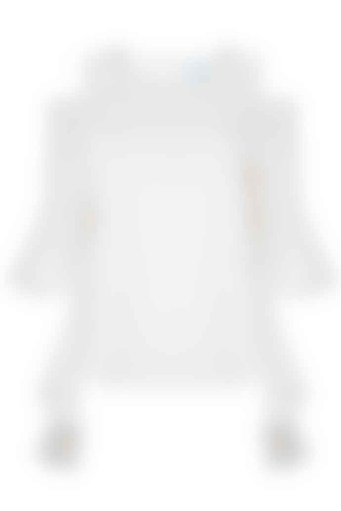 Jovonna London White Carriean Frilly Cold Shoulder Top