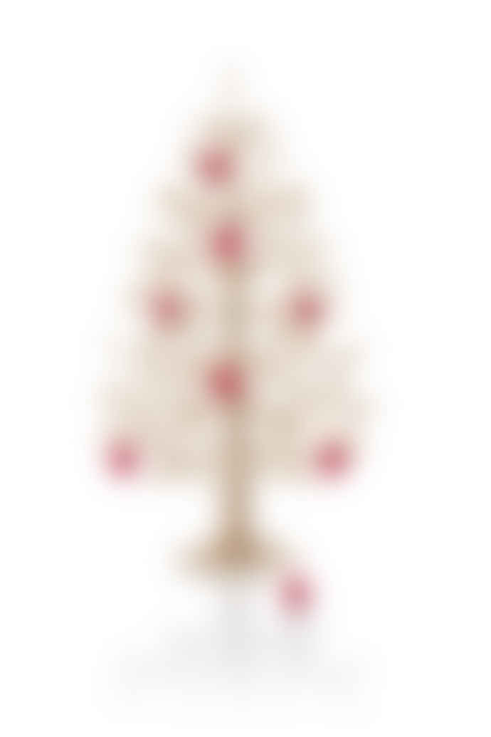 Lovi 30 Cm Natural Wood Spruce Tree With Red Mini Baubles