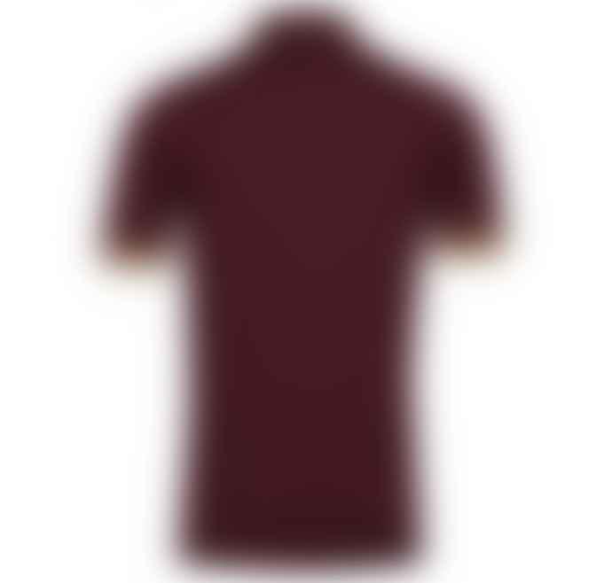 John Smedley 100 Merino  Bordeaux Camel Nailsea Short Sleeve Polo