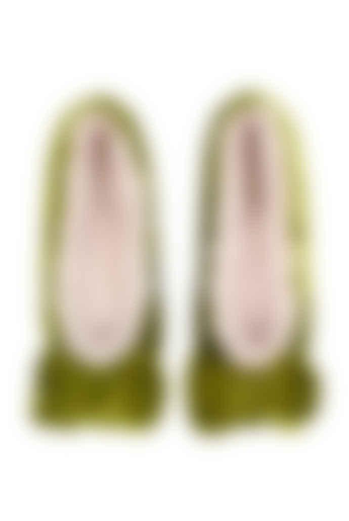 Ruby and Ed Chartreuse Velvet Bow Ballerina Slipper