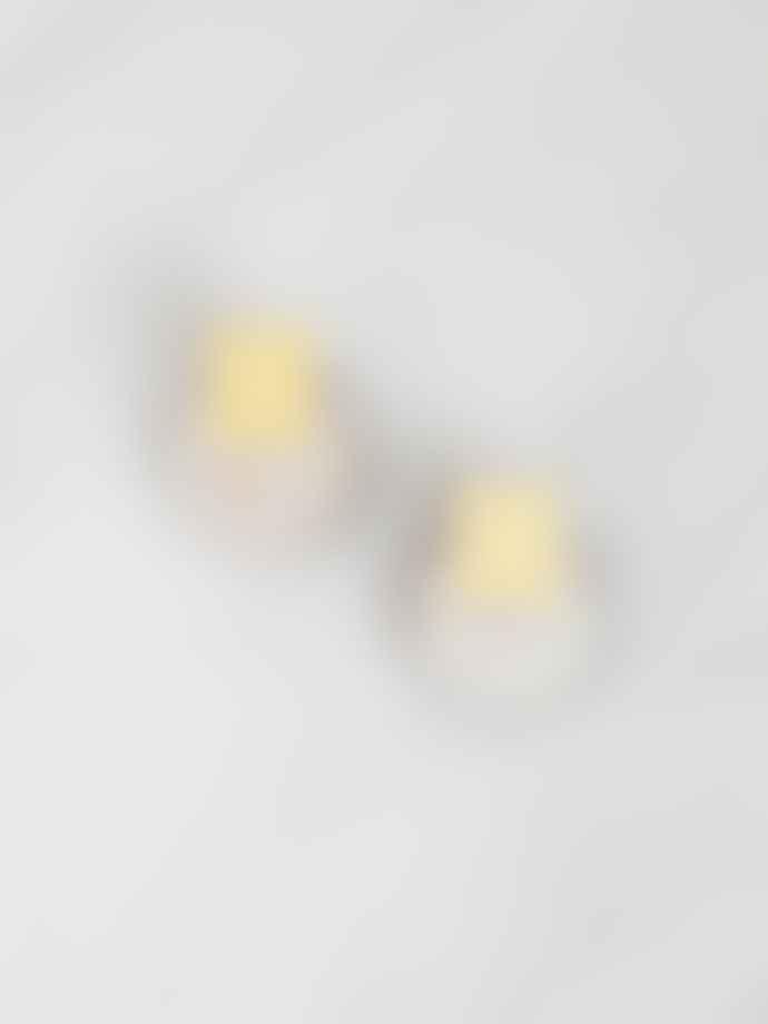 Wolf & Moon In Mother Of Pearl Brass Sol Studs Earrings