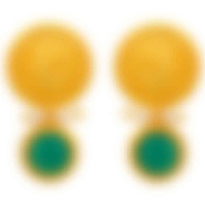 Carousel Jewels  Gold coin, pearl and green onyx earrings