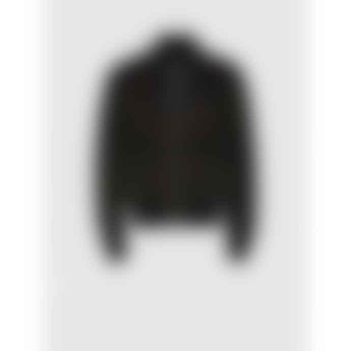 Neil Barrett Black washed Leather Baracuda Collar Bomber Jacket