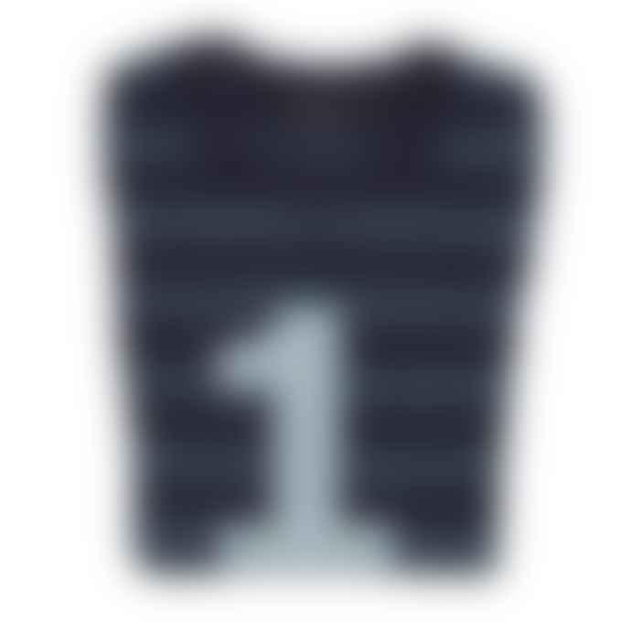Bob and Blossom Vintage Blue Navy Stripe Number T Shirt