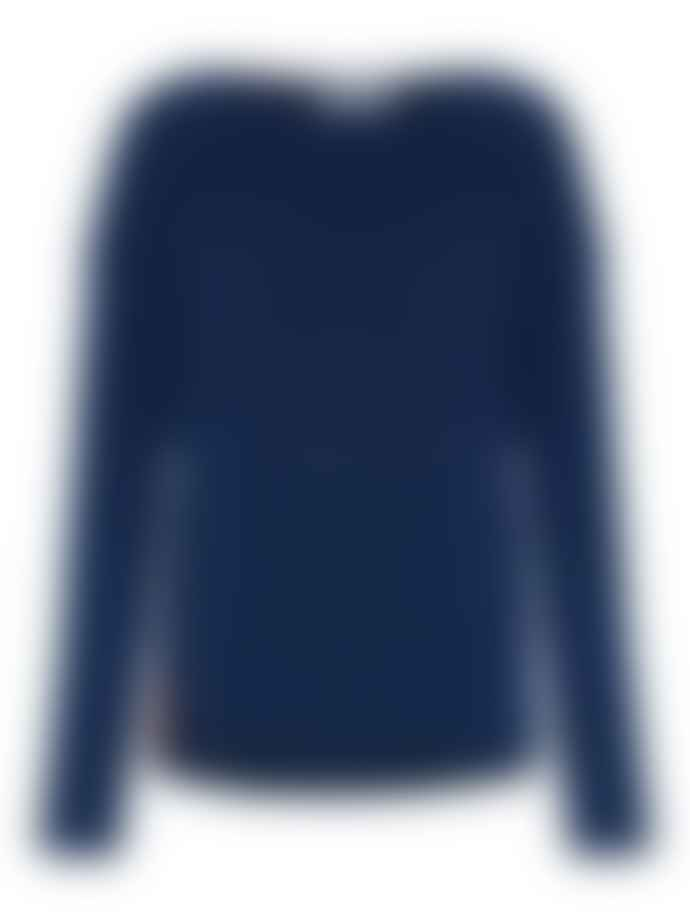 Duffy NY Dusk Blue Scoop Neck Sweater