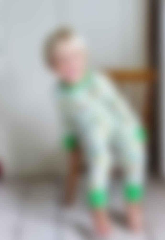 Powell Craft Childrens White and Green Dinosaur Cotton Pyjamas