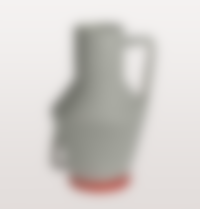 Return to Sender Large Grey Bright Orange Red Upside Down Vase With Handles