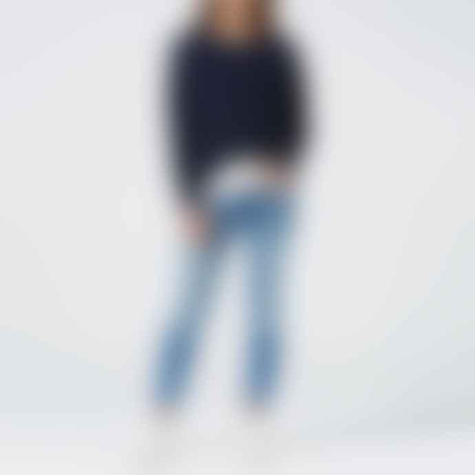 Ille de Cocos Navy Grey Cropped Sweater
