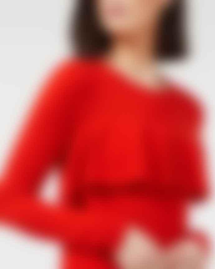 Ille de Cocos Tomato Ruffle Sweater