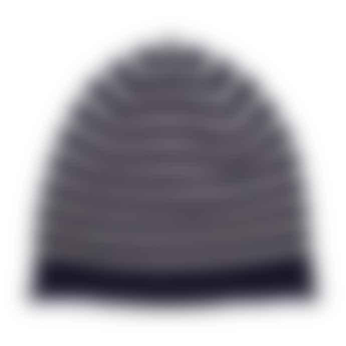 Somerville Scarves Navy Cream Cashmere Breton Beanie Hat