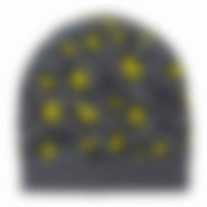 Somerville Scarves Grey Yellow Leopard Cashmere Beanie