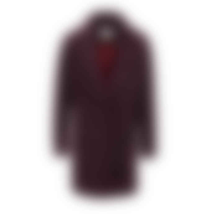 SUNCOO Navy and Burgundy Check Coat