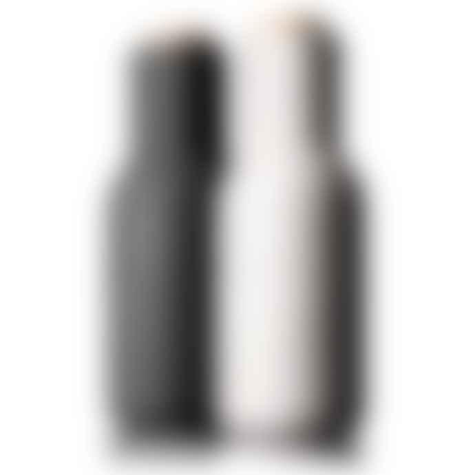 Menu Set Of Ash & Carbon Bottle Grinders With Wooden Tops