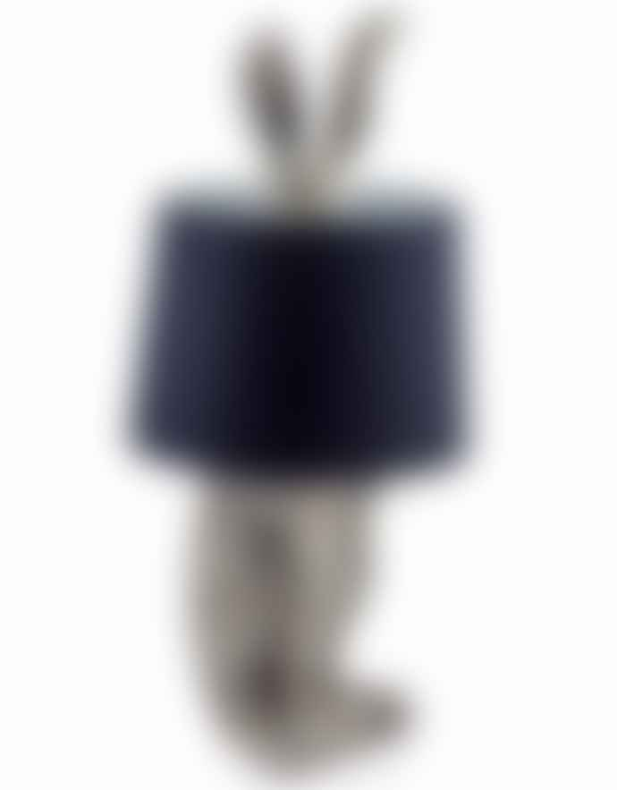 Homewood & Rose Silver Rabbit Ear Lamp With Black Shade