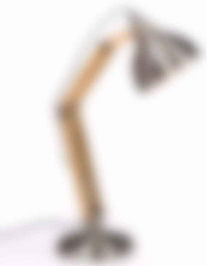 Homewood & Rose Brushed Steel Wood Desk Lamp