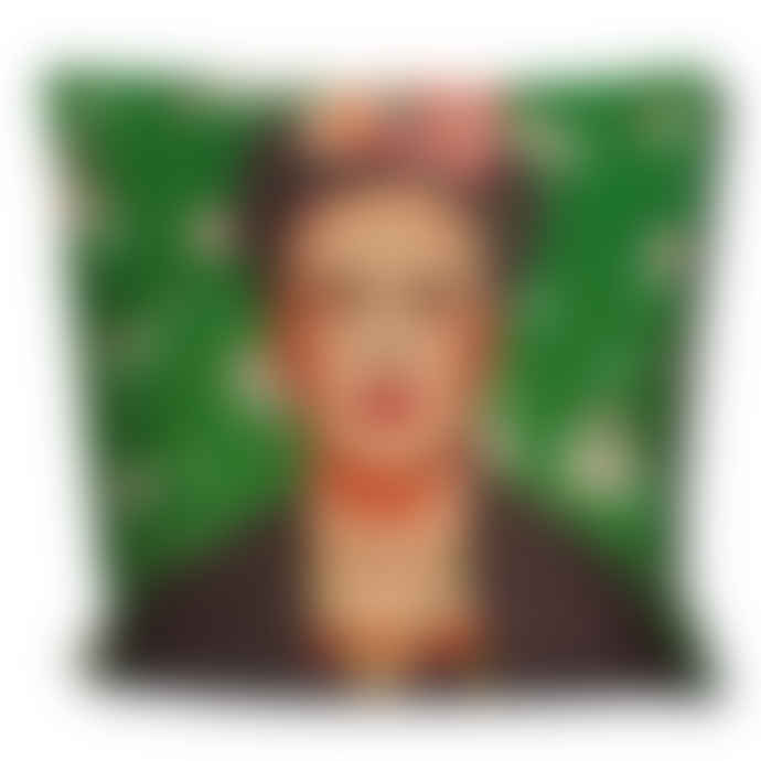 Juul at Home Linen Emerald Green Frida Kahlo Cushion