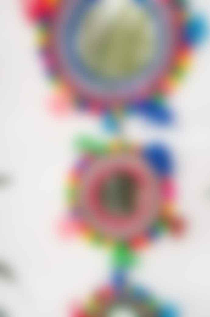 Ian Snow Multi Color Triple Hanging Tassel and Pom Pom Mirror