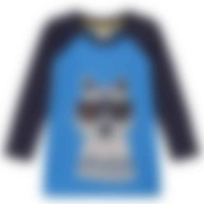 Frugi Sail Blue Wolf 4 To 5 Years Jake Applique Raglan Top