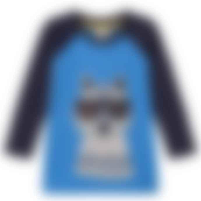 Frugi Sail Blue Wolf 5 To 6 Years Jake Applique Raglan Top