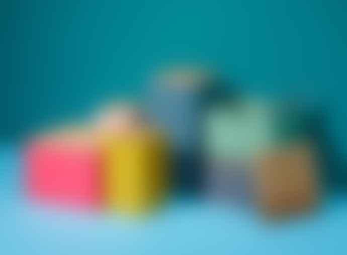 Korridor Pyramid Trinket Box, SMALL- Oak Light blue Light pink and Mustard