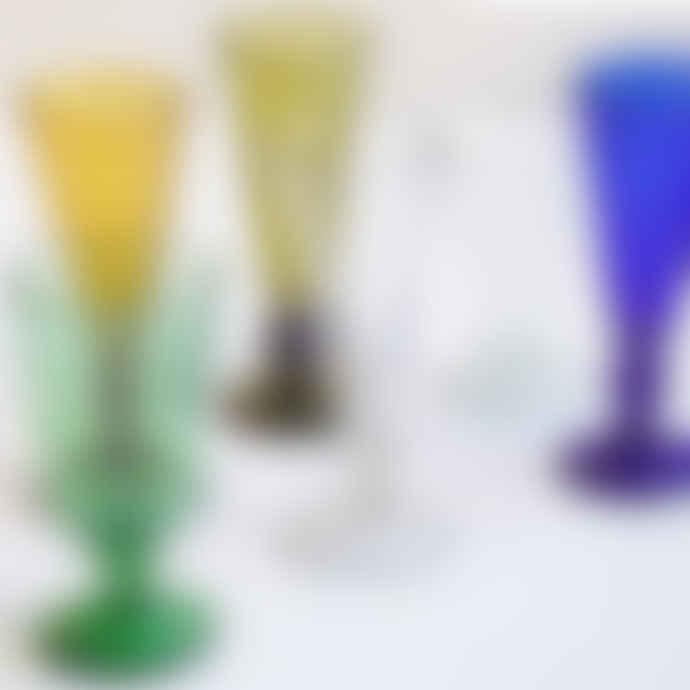 FAIR TRADE Cobalt Blue Mouth Blown Champagne Glass