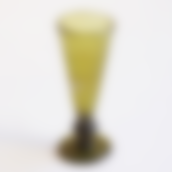 FAIR TRADE Olive Green Mouth Blown Champagne Glass